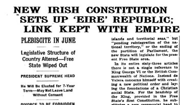 New Irish constitution 'sets up 'Éire' Republic; Link kept with empire