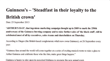 Guinness's - 'Steadfest in their loyalty to the Brithish crown'