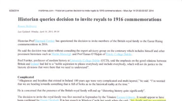 Historian queries decision to invite royals to 1916 commemorations