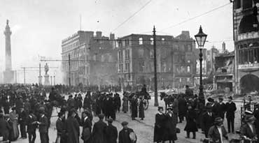 Bomb damage done by British forces in Dublin during 1916 rising