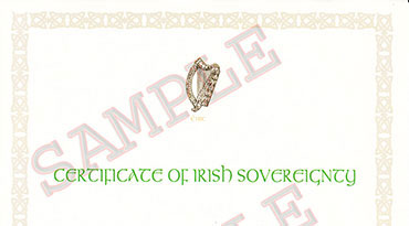 Certificate of Irish Sovereignty