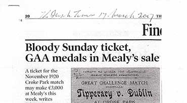 Bloody Sunday ticket, GAA medals in Mealy's sale