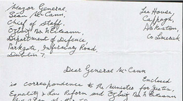 Billy's Letter to General McCann