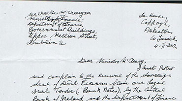 Billy's Letter to Minister McCleary
