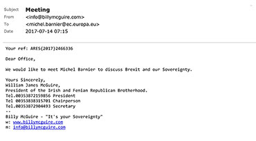 Billy's request for meeting to Michel Barnier