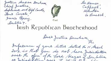 Billy's New letter to Justice Susan Denham