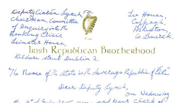 Billy's letter to Dep. Ciarán Lynch Chairman Banking Inquiry