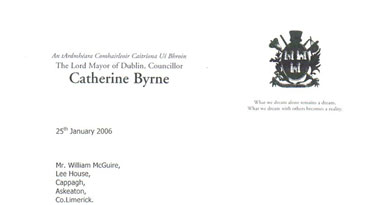Catherine Byrne 2006 Lord Mayor's letter to Billy