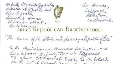 Billy's letter to Deputy Frances Fitzgerald