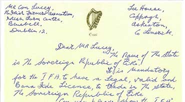 Billy's letter to Irish Farmers' Association