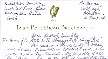 Billy's Letter to Bishop John Buckley