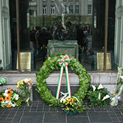 IRB Wreath and Lilies at GPO - Easter Sunday 2014